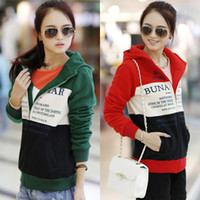 Spring / Autumn Outdoor Sport Style Cotton Letters printed fashion women slim hoodies thicken zipper fleece cardigan overcoats red green 3 sizes t5752