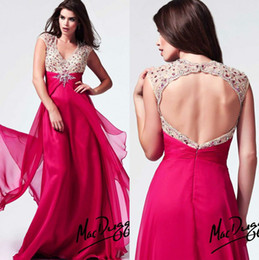 Wholesale 2014 Exquisite Beading Decorated Prom Dresses V Neck Cap Sleeve Backless Chiffon Evening Gowns