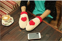 Wholesale Womens Cute Wool Mittens Gloves Winter Black Imitation Rabbit Hair Gloves