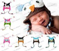 Wholesale LLFA3370 Toddler Owl EarFlap Crochet Hat Baby Handmade OWL Beanie Hats Handmade OWL Beanies Knitted hat