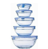 Wholesale Glass bowl piece set plastic bowl tempered glass bowl belt lid exquisite small box set