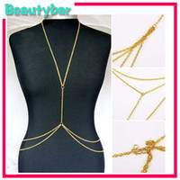 Wholesale Sexy Fashion European Style Ladies Harness Bikini Double layer Crossover Belly Body Chain Link Necklace Stylish Jewelry