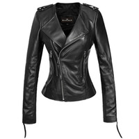 Wholesale 2014 spring new fashion womens genuine leather jacket Sheepskin leather jackets for women o neck slim motorcycle short design