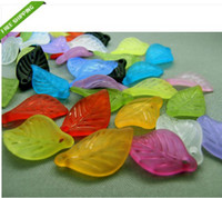 acrylic leaf beads - 500pcs Acrylic Beads Supplier Assorted Color Frosted Leaf Beads mm long mm wide mm thick With One Hole
