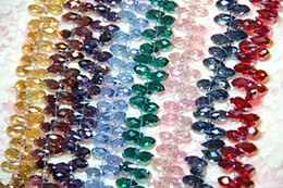 Wholesale x12mm Glass beads Mixed Color Briolette Pendants Crystal Teardrop Beads