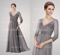 Wholesale 2014 Hot Sexy Gray Mother Of Bride Dress V Neck Long Sleeves Sequins Beaded Ruffles Gorgeous Chiffon Evening Dresses BE263