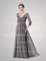 Wholesale 2013 Sexy Long Sleeves Chiffon Beaded Grey V Neck Ruffles Empire Floor Length Mother of The Bride Dress BE263