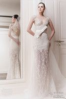 Reference Images V-Neck Lace New Arrival Zuhair Murad Illusin Neckline With Zipper Back Embroider Sweep Train Sheath See-Through Wedding Dress Bridal Gowns 2014