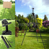 Wholesale New Black Artist Aluminium Alloy Folding Painting Easel Frame Adjustable Tripod display shelf With Carry Bag