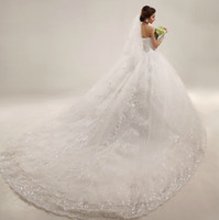 Wholesale New Luxury Royal Puffy White Applique Beads Catherdarl Train Pleated Wedding Dresses Bridal Gowns Organza