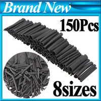 Wholesale 150pcs Sizes Black Assortment Polyolefin H type Heat Shrink Tubing Tube Sleeving Wrap Wire Cable Kit