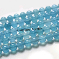 Stone aquamarine precious stone - 8mm Aquamarine Loose Beads Natural For Jewelry DIY Semi precious Beads Strands about strand
