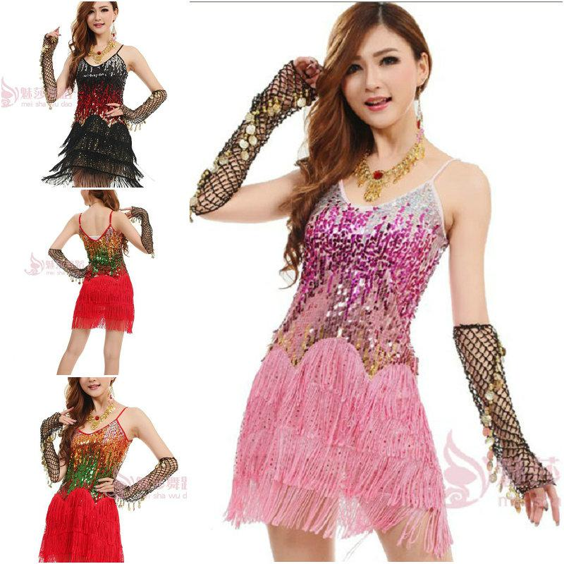 Girls Sexy Fringe Ballroom Sequins Latin Dance Dress Salsa Tango ...