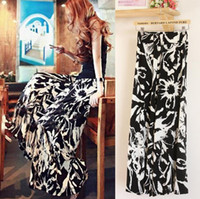 palazzo pants - Women wide leg Palazzo pants loose black white Print Floral grass long pant lady summer spring autumn casual flower pant