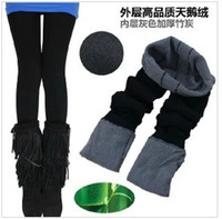 Wholesale Hot New With Tracking Number Winter Women Coat Bamboo Carbon Fiber Double Thermal Warm Tights Footless Pants Leggings