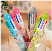 Wholesale 2014 new style Korea Stationery cute bear six color ballpoint pen mechanical pencil cartoon multifunction pen gift prizes