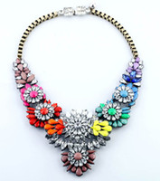 Wholesale Exaggerate Rainbow Flower gem Crystal Necklace Fashion Statement Jewelry High quality Chain Luxury Chokers Christmas Gift