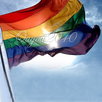 Wholesale 3x5FT Rainbow Flag GAY amp LESBIAN PRIDE PEACE Pennants Banner Pennants WITH METAL GROMMETS