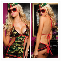 Wholesale E Packet Hot Sexy Girls Woman camouflage Lingerie Teddy One piece Underwear lady Leak back dress