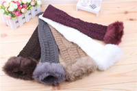 Wholesale Women Autumn Winter Fingerless Gloves Ladies Fur Knitting Gloves Long Sleeve Gauntlet Fake Rabbit Fur Mitten
