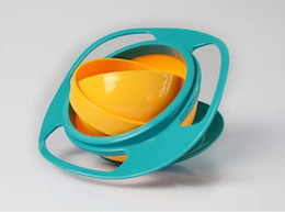 Wholesale 360 Baby UFO gyroscope rotating bowl baby bowl Kid bowl toy bOWL would not fall in the bowl for kids