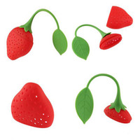 Wholesale 10 pc Cute Fruit Strawberry Shape Silicone Tea Herbal Spices Leaf Infuser Strainer