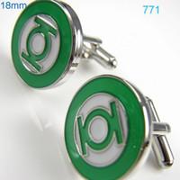 Wholesale HOT SALE fashion Shirt cuff Cufflinks The Green Lantern cuff links for men s gift