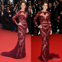Reference Images V-Neck Lace Cheryl Cole Zuhair Murad Dress Cannes 2013 New ArCheryl Cole Zuhair Murad Dress rival Mermaid Nude Lace Burgundy Long Sleeve Celebrity Dress