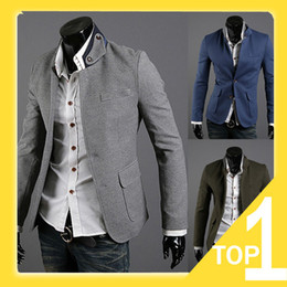 Wholesale 2013 new men s dress suit jacket multi pockets color matching collar designning fashion blazer for men xxl autumn spring B4014 Promdresssho