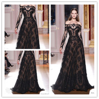Reference Images Scoop Lace 2014 HOT Sexy zuhair murad Long Sleeves Prom Dresses Lace Black Evening Dresses Celebrity Dresses