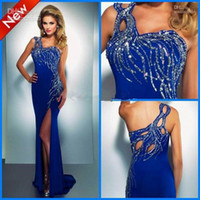 Wholesale Custom made Sheath One shoulder Beads Split front Stretch silk Floor length Prom Evening Dresses