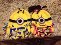 Boy baby s knitted beanie - Brand New Custom made Minion Despicable Me Hat Crocheted two Eye Handmade Novelty Hat Baby Knitting hat Animal Beanie Baby Cartoon Hat mix s
