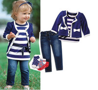 Wholesale Girls Clothing Sets Blue Coat and Jeans Striped T Shirt Autumn Winter FreeShipping TTT002
