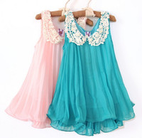 Children's Dresses Girls Chiffon Dress Crochet Collar Summer...