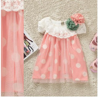 Wholesale Summer Popular Baby Girl s Dot Floral Dresses Skirt Sundress Short Sleeve Lace Flower Net Yarn Condole Belt Vest Princess Dress Wear B2041