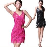 Wholesale Ladies Night Club Cocktail Party Latin Ballroom Dance Sequin Fringe Dress Costume