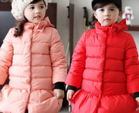 Wholesale Winter Girls Down Coat Bowknot Long Style Kids Padded Coat year Children Outwear Pink And Hot Red QZ176