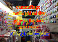 Wholesale Rainbow Loom glow in the dark glitter metal camouflage charms bands Bands amp quot S quot Clips bag Silicone Rubber Bands in stock