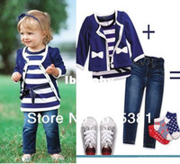 Wholesale Retail baby suit set coat shirt Jeans blue girl clothing set autumn children garment
