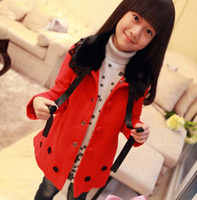 Coat Girl Spring / Autumn Fashion Lace Collar Princess Coats Winter Coat Girl Clothes Children Outwear Long Coat Kids Clothing Cute Red Casual Coats Child Overcoat
