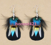 Teal And Black Cheap Fashion Jewelry black feather pearl teal