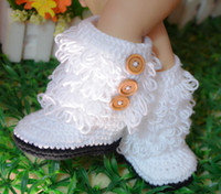 Wholesale baby boots Baby crochet shoes baby girls crochet snow Booties infant handmade first walker shoes kids knit Tassel Boot