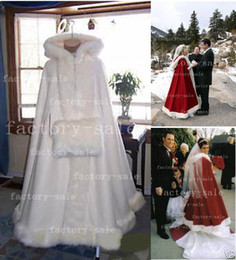 Wholesale 2014 Bridal Cape Ivory Wedding Cloaks Faux Fur Ankle Length Perfect For Winter Wedding Red and White Bridal Cloaks BO2354