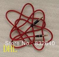 Wholesale A79 DHL Double Headphone Male Jack Cable for Beats SOLO Headsets Replacement mm Audio Red Cable for Mixr Studio Headphones