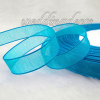 Wholesale 100 Yards Teal Blue Organza Sheer Ribbon Wedding Party Favor Decoration Craft Favour Gift Box Ribbon Decor