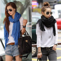 Wholesale women Pure color scarf cotton long fold scarf cape beach towel large shawl wraps W4190
