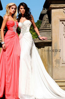 Wholesale Tarik Ediz Sweetheart Strapless Embellished Trumpet Dress with Ruched Detail Crystal beaded Evening Dresses Party Gown Sexy Prom Dress