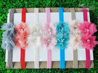 Wholesale Girls Boys Flowers Elastic Headband Child Soft CM Two Pearl With Rhinestone Flower Headbands Hot Sale