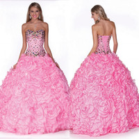 Wholesale 2014 New Ball Gown Pink Quinceanera Dress Rhinestone Beaded Organza Bandage Prom Dress Girl s Party Dress