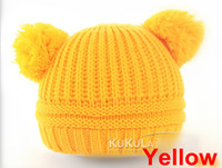 Unisex Winter Crochet Hats DHL Free Shipping Fashion Baby Winter Beanie Hat Baby Toddler Knitted Double Ball Knitted Cap Children Hats Children Crochet Mouse Cap